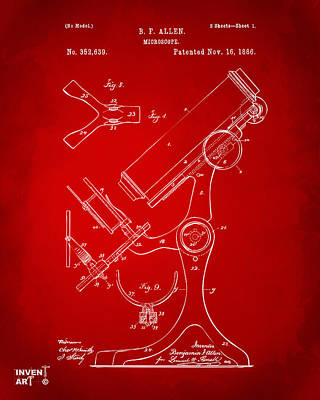 Lab Digital Art - 1886 Microscope Patent Artwork - Red by Nikki Marie Smith