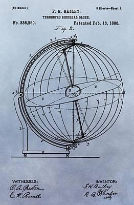 1886 Terrestro Globe Patent Art Print by Dan Sproul