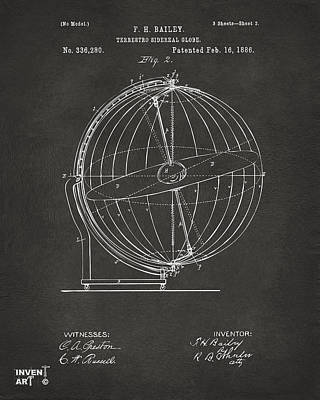 1886 Terrestro Sidereal Globe Patent 2 Artwork - Gray Art Print by Nikki Marie Smith