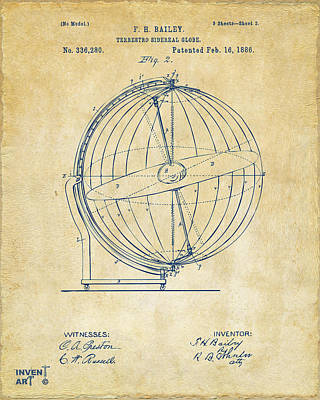 Drawing - 1886 Terrestro Sidereal Globe Patent 2 Artwork - Vintage by Nikki Marie Smith