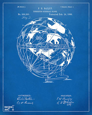 1886 Terrestro Sidereal Globe Patent Artwork - Blueprint Art Print by Nikki Marie Smith