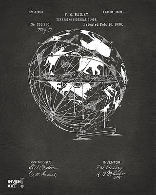 Digital Art - 1886 Terrestro Sidereal Globe Patent Artwork - Gray by Nikki Marie Smith