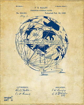 Drawing - 1886 Terrestro Sidereal Globe Patent Artwork - Vintage by Nikki Marie Smith