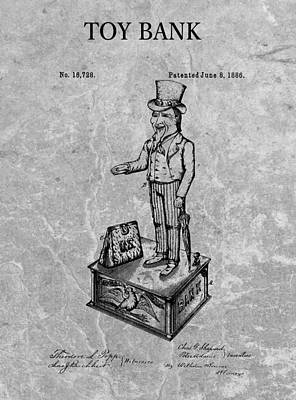 1886 Toy Bank Patent Charcoal Art Print