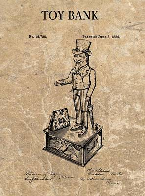 Financial Mixed Media - 1886 Toy Bank Patent by Dan Sproul