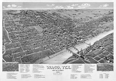 1886 Vintage Map Of Waco Texas Art Print by Stephen Stookey