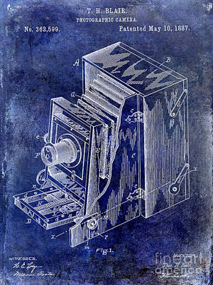 1887 Photograph - 1887 Camera Patent Drawing Blue by Jon Neidert