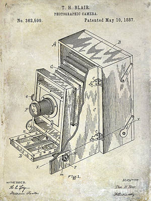 1887 Photograph - 1887 Camera Patent Drawing  by Jon Neidert