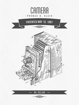 1887 Camera Patent Drawing - Retro Gray Art Print by Aged Pixel