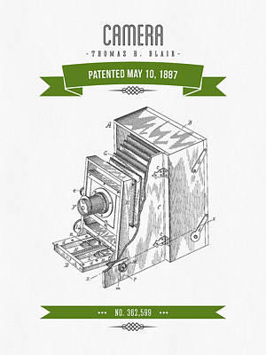 Camera Digital Art - 1887 Camera Patent Drawing - Retro Green by Aged Pixel