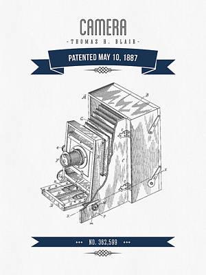 1887 Camera Patent Drawing - Retro Navy Blue Art Print