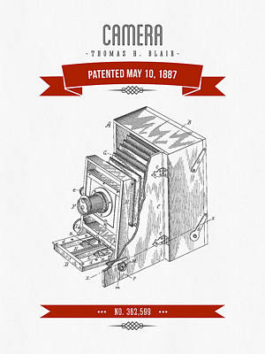 1887 Camera Patent Drawing - Retro Red Art Print by Aged Pixel