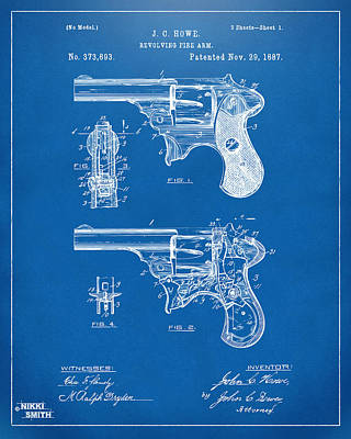 1887 Howe Revolver Patent Artwork - Blueprint Art Print by Nikki Marie Smith