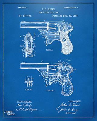 Breach Digital Art - 1887 Howe Revolver Patent Artwork - Blueprint by Nikki Marie Smith