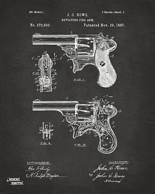 1887 Howe Revolver Patent Artwork - Gray Art Print by Nikki Marie Smith
