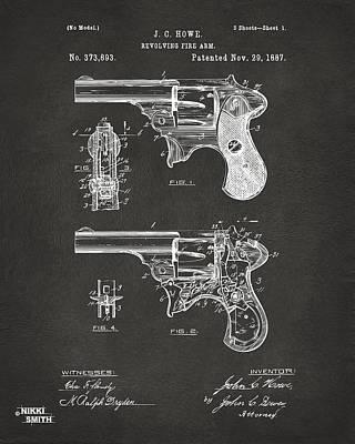 Breach Digital Art - 1887 Howe Revolver Patent Artwork - Gray by Nikki Marie Smith