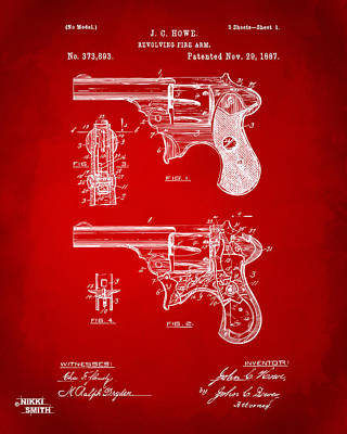 1887 Howe Revolver Patent Artwork - Red Art Print by Nikki Marie Smith