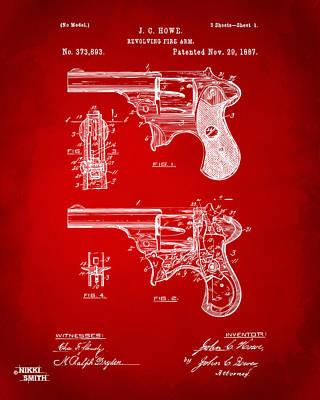 Breach Digital Art - 1887 Howe Revolver Patent Artwork - Red by Nikki Marie Smith