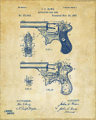 1887 Howe Revolver Patent Artwork - Vintage Art Print by Nikki Marie Smith