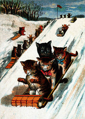 Painting - 1887 Toboggan Cats by Historic Image