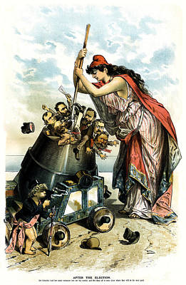 Conservative Painting - 1888 Anti Us Labor Party Cartoon by Historic Image