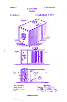 Movie Still Frames Drawing - 1888 Eastman Camera Patent Art 3 by Nishanth Gopinathan