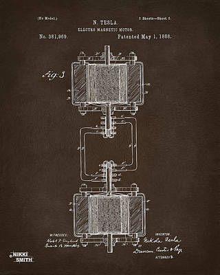 Drawing - 1888 Tesla Electro Magnetic Motor Patent Espresso by Nikki Marie Smith