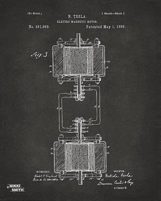1888 Tesla Electro Magnetic Motor Patent - Gray Print by Nikki Marie Smith