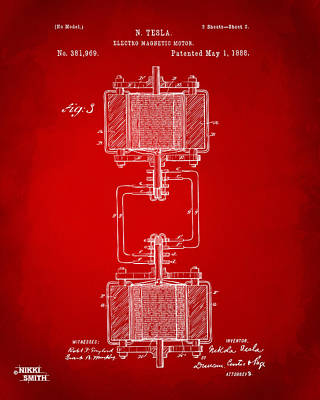 1888 Tesla Electro Magnetic Motor Patent - Red Print by Nikki Marie Smith