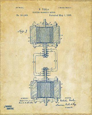 1888 Tesla Electro Magnetic Motor Patent - Vintage Print by Nikki Marie Smith