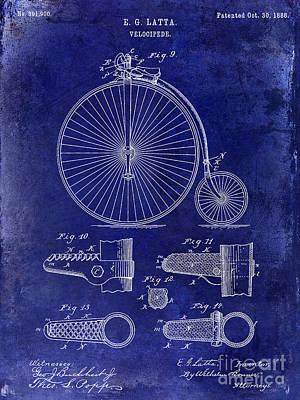 Schwinn Wall Art - Photograph - 1888 Velocipede Patent Drawing Blue by Jon Neidert