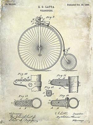 Schwinn Wall Art - Photograph - 1888 Velocipede Patent Drawing  by Jon Neidert