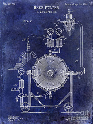 Coors Photograph - 1889 Beer Filter Patent Drawing Blue  by Jon Neidert