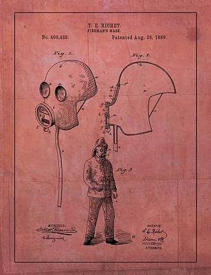 Mixed Media - 1889 Fireman's Mask Patent by Dan Sproul