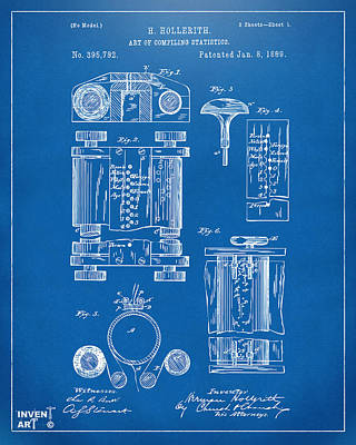 Punch Drawing - 1889 First Computer Patent Blueprint by Nikki Marie Smith