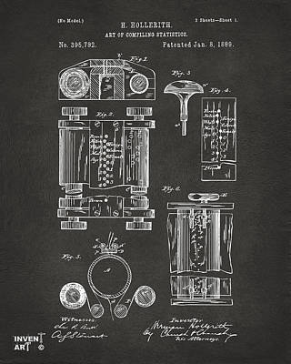 Punch Drawing - 1889 First Computer Patent Gray by Nikki Marie Smith