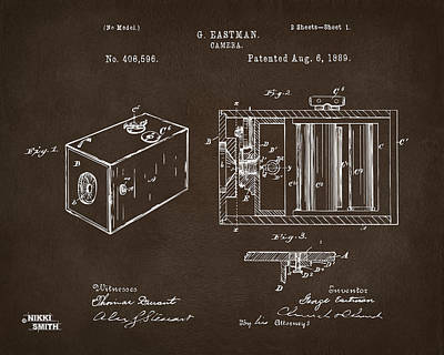 Drawing - 1889 George Eastman Camera Patent Espresso by Nikki Marie Smith