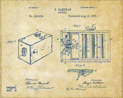 Digital Art - 1889 George Eastman Camera Patent Vintage by Nikki Marie Smith