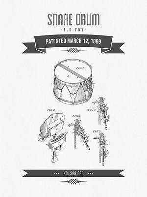 Technical Drawings Drawing - 1889 Snare Drum Patent Drawing by Aged Pixel