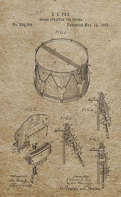 Musicians Drawings - 1889 Snare Drum Patent Vintage Paper by Dan Sproul