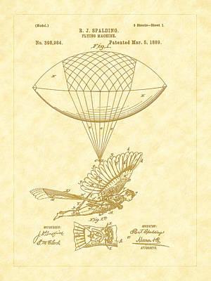 Photograph - 1889 Spalding Flying Machine Patent Art by Barry Jones