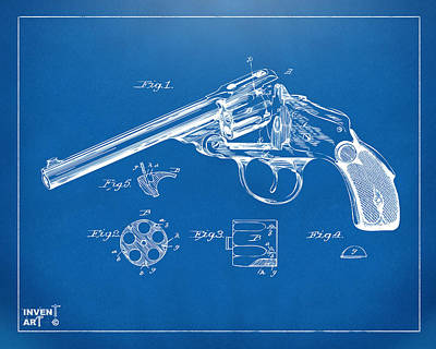 X-ray Digital Art - 1889 Wesson Revolver Patent Minimal - Blueprint by Nikki Marie Smith