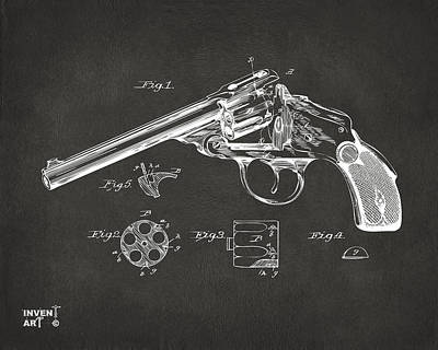 X Ray Digital Art - 1889 Wesson Revolver Patent Minimal - Gray by Nikki Marie Smith