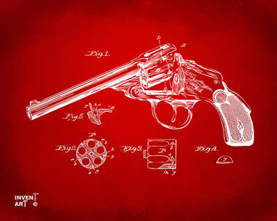 X Ray Digital Art - 1889 Wesson Revolver Patent Minimal - Red by Nikki Marie Smith