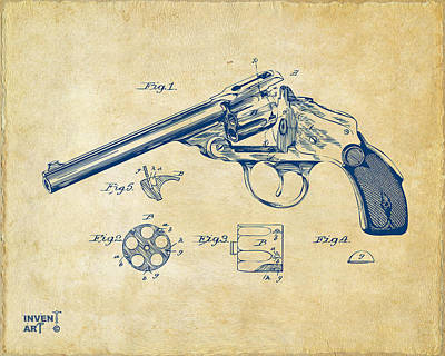 X-ray Digital Art - 1889 Wesson Revolver Patent Minimal - Vintage by Nikki Marie Smith