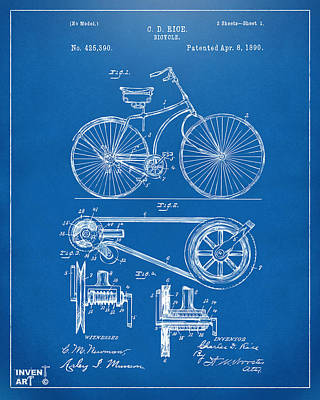 Digital Art - 1890 Bicycle Patent Artwork - Blueprint by Nikki Marie Smith