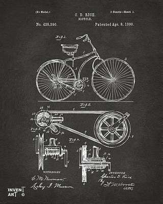 Digital Art - 1890 Bicycle Patent Artwork - Gray by Nikki Marie Smith