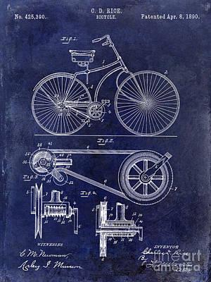 Schwinn Wall Art - Photograph - 1890 Bicycle Patent Drawing Blue by Jon Neidert