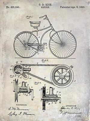 Schwinn Wall Art - Photograph - 1890 Bicycle Patent Drawing by Jon Neidert
