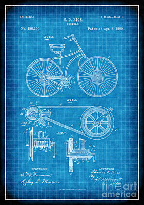 1890 Patent Digital Art - 1890 Bicycle Patent Drawing by Susan Schroeder